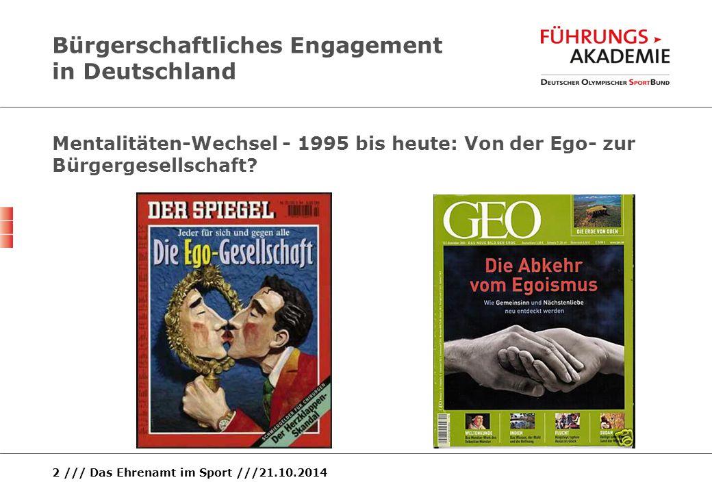 2 /// Das Ehrenamt im Sport ///21.10.2014 Bürgerschaftliches Engagement in Deutschland Mentalitäten-Wechsel - 1995 bis heute: Von der Ego- zur Bürgerg