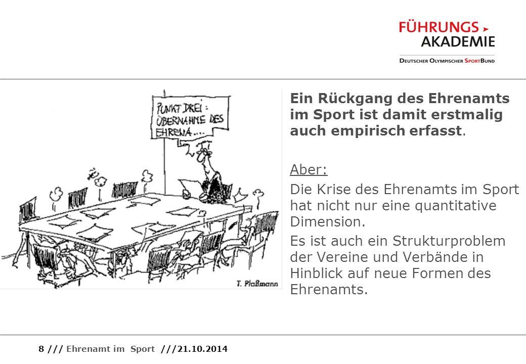 8 /// Ehrenamt im Sport ///21.10.2014 Ein Rückgang des Ehrenamts im Sport ist damit erstmalig auch empirisch erfasst. Aber: Die Krise des Ehrenamts im