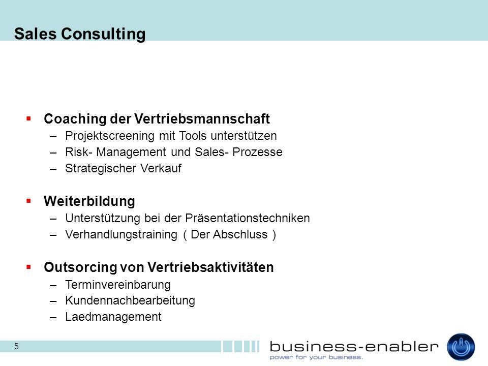 5 Sales Consulting  Coaching der Vertriebsmannschaft –Projektscreening mit Tools unterstützen –Risk- Management und Sales- Prozesse –Strategischer Ve