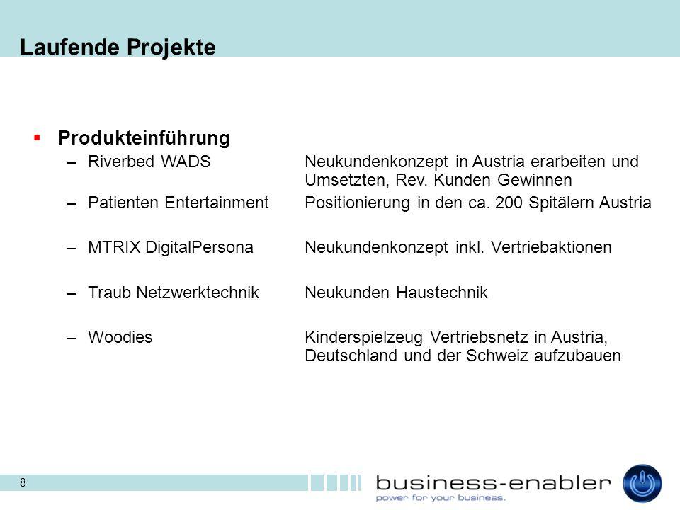 8 Laufende Projekte  Produkteinführung –Riverbed WADSNeukundenkonzept in Austria erarbeiten und Umsetzten, Rev. Kunden Gewinnen –Patienten Entertainm