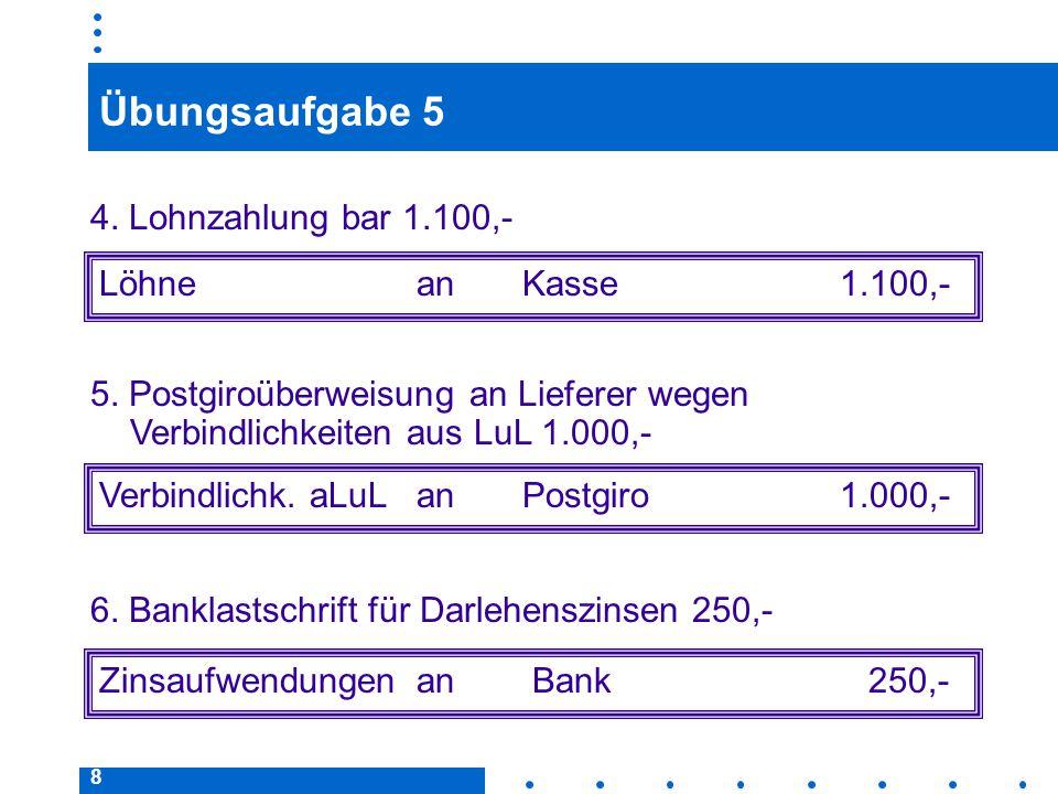 19 Buchen von Skontogewährung/-beanspruchung Beispiel: Begleichung einer Lieferantenrechnung über 5.000,– € unter Abzug von 3 % Skonto durch Banküberweisung.