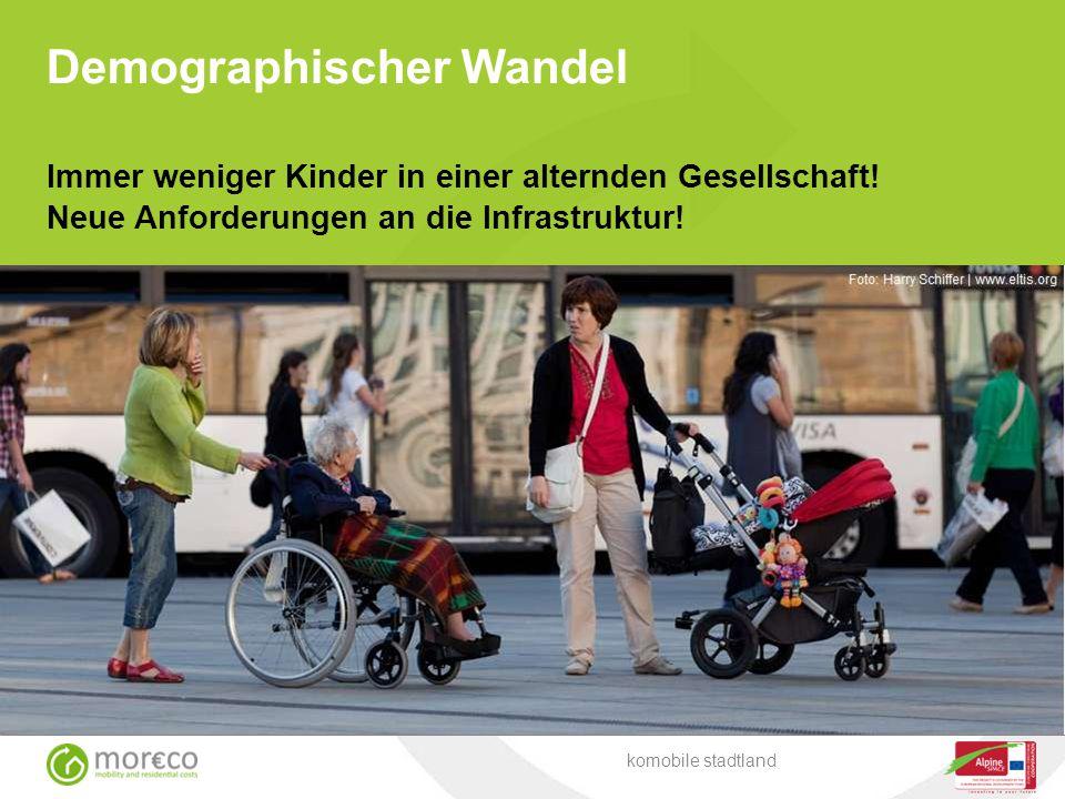 Immer weniger Kinder in einer alternden Gesellschaft! Neue Anforderungen an die Infrastruktur! komobile stadtland Demographischer Wandel