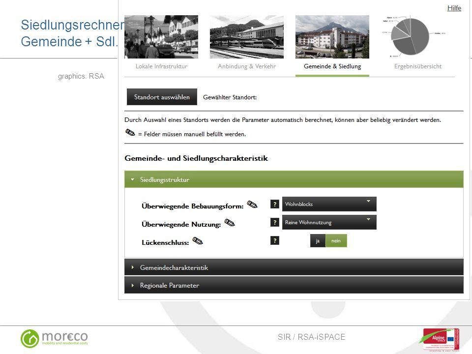Beispiel MOR€CO Siedlungsrechner graphics: RSA SIR / RSA-iSPACE Siedlungsrechner Gemeinde + Sdl.