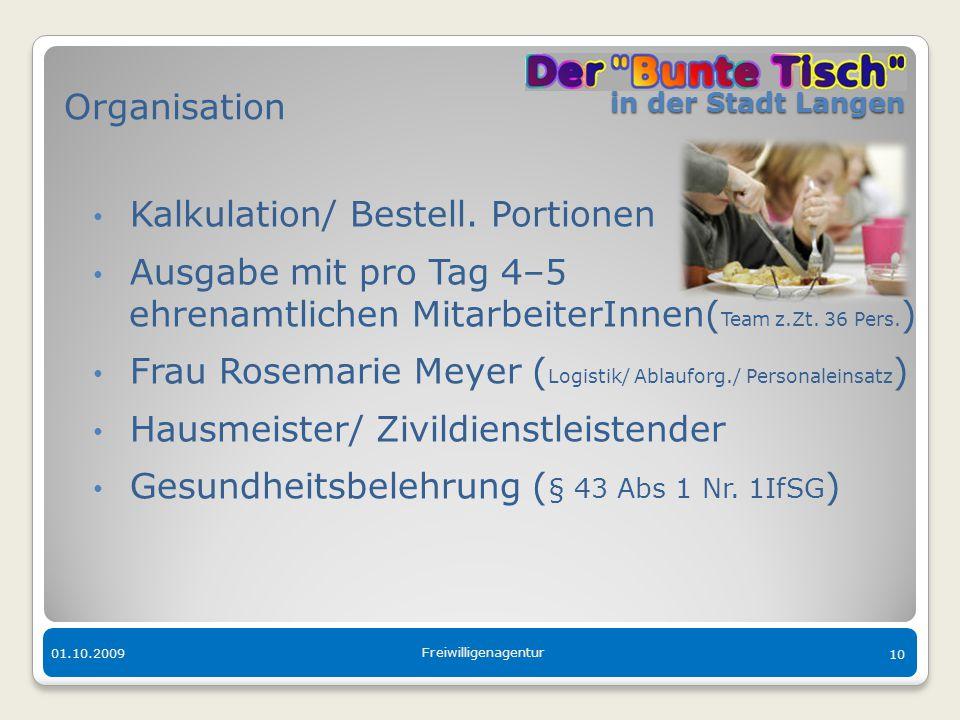 in der Stadt Langen in der Stadt Langen 01.10.2009 Freiwilligenagentur 10 Organisation Kalkulation/ Bestell. Portionen Ausgabe mit pro Tag 4–5 ehrenam