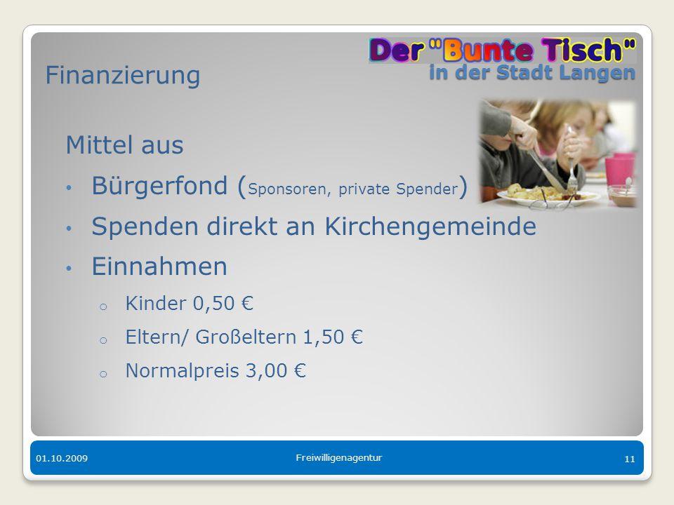 in der Stadt Langen in der Stadt Langen 01.10.2009 Freiwilligenagentur 11 Finanzierung Mittel aus Bürgerfond ( Sponsoren, private Spender ) Spenden di