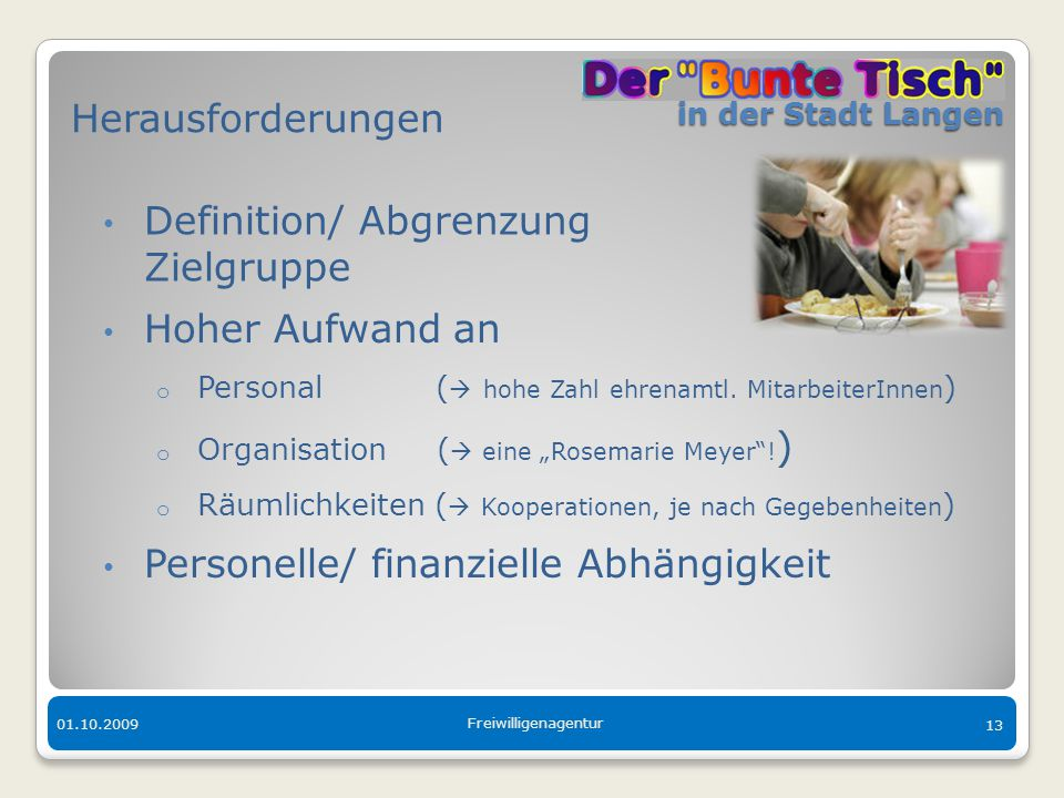 in der Stadt Langen in der Stadt Langen 01.10.2009 Freiwilligenagentur 13 Herausforderungen Definition/ Abgrenzung Zielgruppe Hoher Aufwand an o Perso