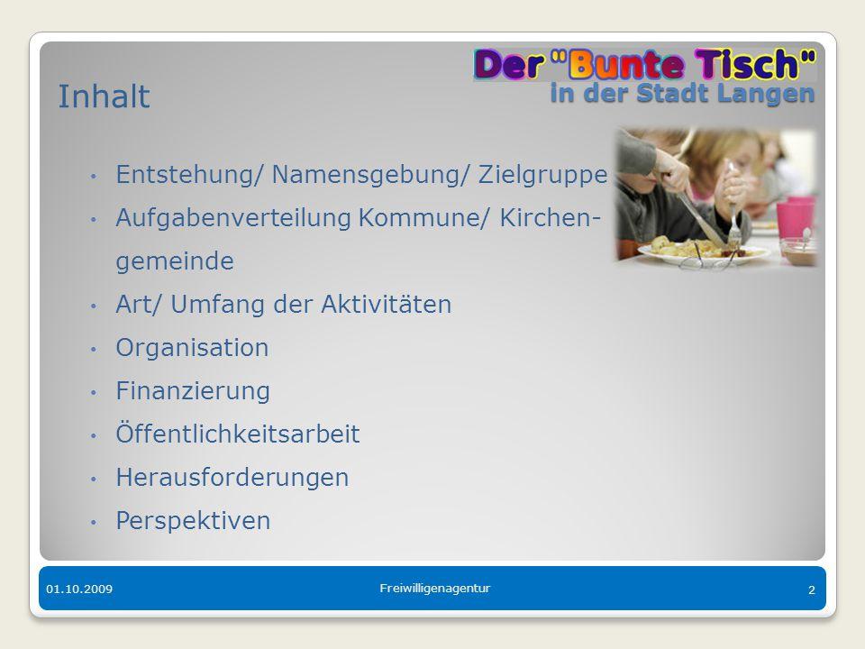 in der Stadt Langen in der Stadt Langen 01.10.2009 Freiwilligenagentur 2 Inhalt Entstehung/ Namensgebung/ Zielgruppe Aufgabenverteilung Kommune/ Kirch