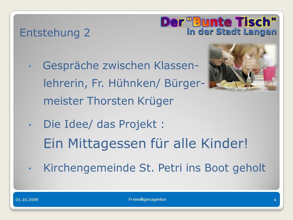 in der Stadt Langen in der Stadt Langen 01.10.2009 Freiwilligenagentur 4 Entstehung 2 Gespräche zwischen Klassen- lehrerin, Fr. Hühnken/ Bürger- meist