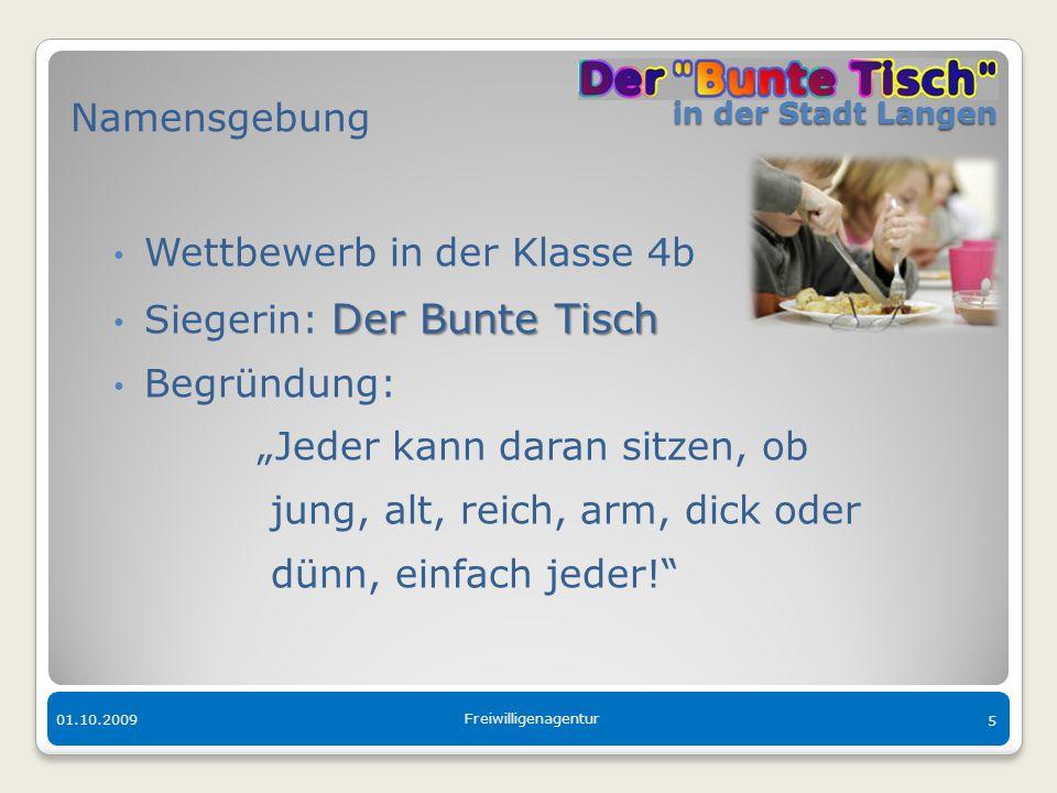 in der Stadt Langen in der Stadt Langen 01.10.2009 Freiwilligenagentur 5 Namensgebung Wettbewerb in der Klasse 4b Der Bunte Tisch Siegerin: Der Bunte