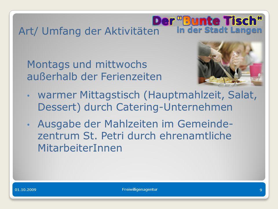 in der Stadt Langen in der Stadt Langen 01.10.2009 Freiwilligenagentur 9 Art/ Umfang der Aktivitäten Montags und mittwochs außerhalb der Ferienzeiten
