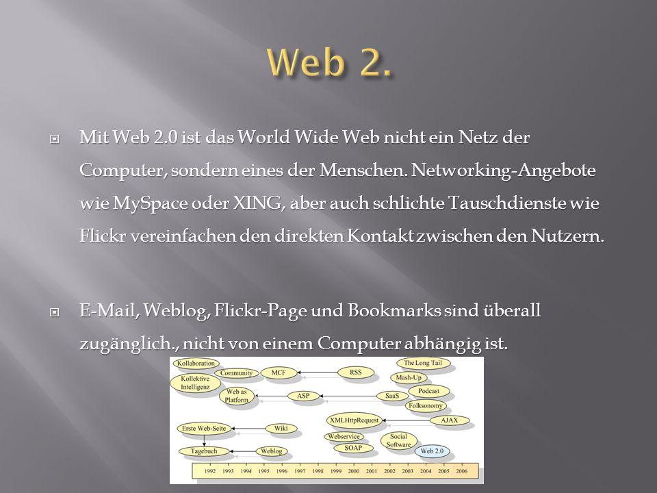 MMMMit Web 2.0 ist das World Wide Web nicht ein Netz der Computer, sondern eines der Menschen. Networking-Angebote wie MySpace oder XING, aber auc