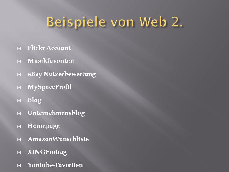 Flickr Account  Musikfavoriten  eBay Nutzerbewertung  MySpaceProfil  Blog  Unternehmensblog  Homepage  AmazonWunschliste  XINGEintrag  Yout