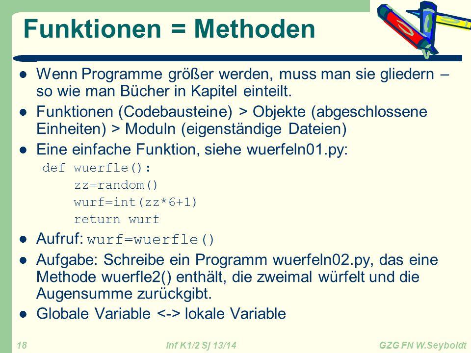 Inf K1/2 Sj 13/14 GZG FN W.Seyboldt 18 Funktionen = Methoden Wenn Programme größer werden, muss man sie gliedern – so wie man Bücher in Kapitel eintei