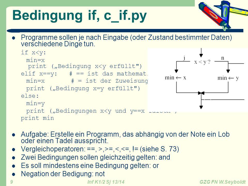 Inf K1/2 Sj 13/14 GZG FN W.Seyboldt 10 For-Schleife, d_for.py for i in liste: a=a+i Die Liste kann man auf verschiedene Arten bestimmen: – [1,2,5,8,9] – range(a,b): Alle ganzen Zahlen von a bis unter b (also ohne b!) – range(b): Alle ganzen Zahlen von 0 bis unter b (also ohne b!) – range(a,b,d): Alle ganzen Zahlen beginnend mit a, a+d, a+2d, … bis unter b (b ist nicht mehr dabei) – [ str2 , str2 ]: Die Liste kann auch Strings (oder andere Listen) als Elemente enthalten continue: macht beim nächsten Durchgang weiter, break: Beendet die Schleife