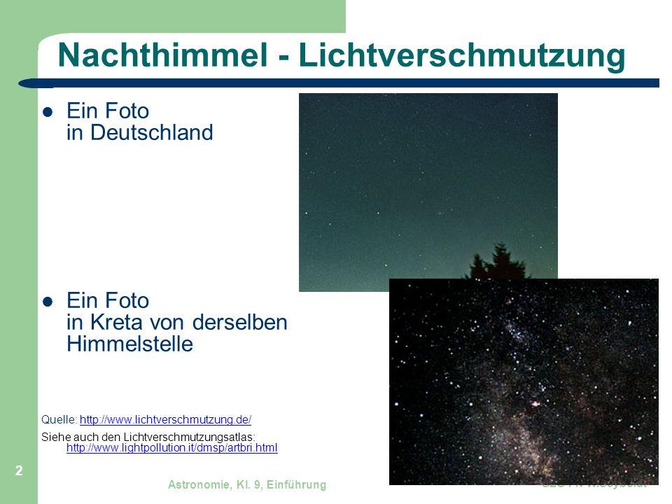 Astronomie, Kl. 9, Einführung GZG FN W.Seyboldt 2 Nachthimmel - Lichtverschmutzung Ein Foto in Deutschland Ein Foto in Kreta von derselben Himmelstell