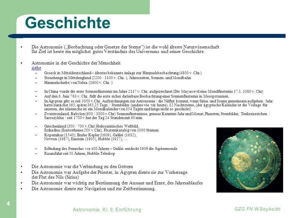 """Astronomie, Kl. 9, Einführung GZG FN W.Seyboldt 4 Geschichte Die Astronomie (""""Beobachtung oder Gesetze der Sterne"""") ist die wohl älteste Naturwissensc"""