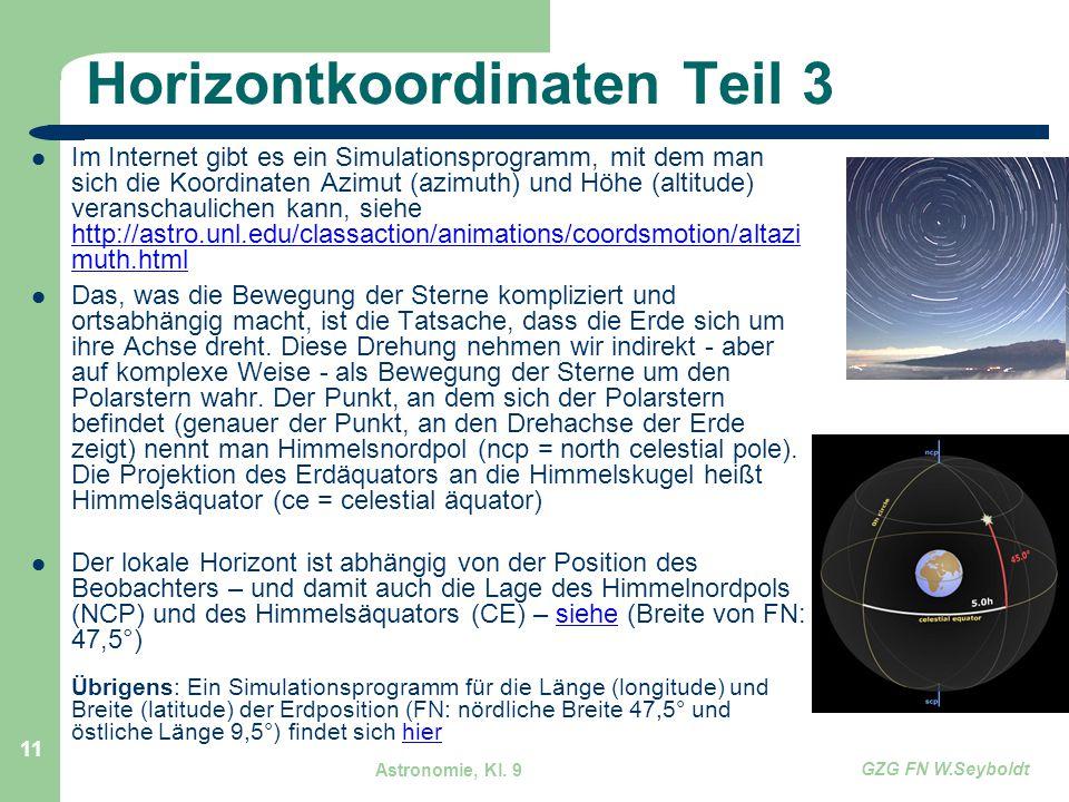 Astronomie, Kl. 9 GZG FN W.Seyboldt 11 Horizontkoordinaten Teil 3 Im Internet gibt es ein Simulationsprogramm, mit dem man sich die Koordinaten Azimut