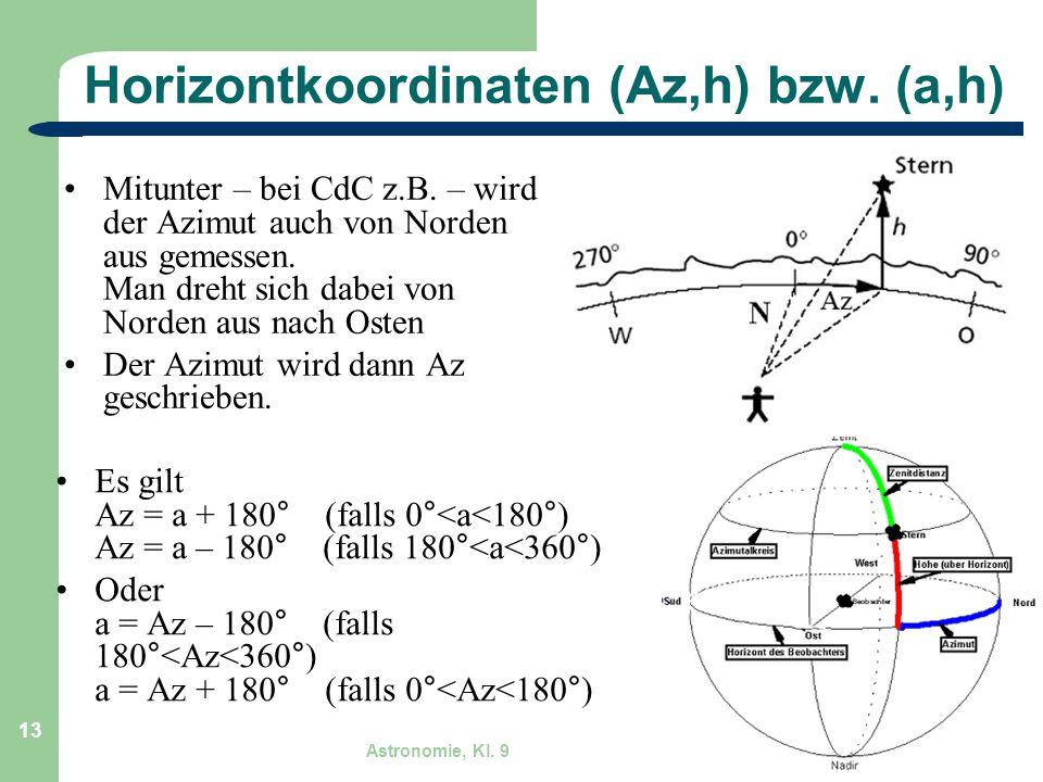 Astronomie, Kl. 9 GZG FN W.Seyboldt 13 Horizontkoordinaten (Az,h) bzw. (a,h) Mitunter – bei CdC z.B. – wird der Azimut auch von Norden aus gemessen. M