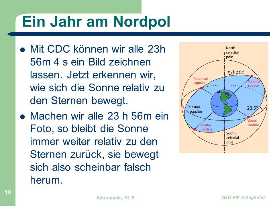 Astronomie, Kl. 9 GZG FN W.Seyboldt 18 Ein Jahr am Nordpol Mit CDC können wir alle 23h 56m 4 s ein Bild zeichnen lassen. Jetzt erkennen wir, wie sich