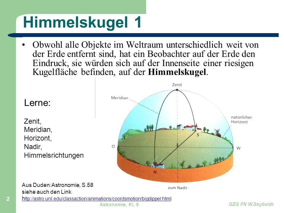 Astronomie, Kl. 9 GZG FN W.Seyboldt 2 Himmelskugel 1 Obwohl alle Objekte im Weltraum unterschiedlich weit von der Erde entfernt sind, hat ein Beobacht