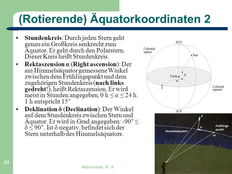 Astronomie, Kl. 9 GZG FN W.Seyboldt 21 (Rotierende) Äquatorkoordinaten 2 Stundenkreis: Durch jeden Stern geht genau ein Großkreis senkrecht zum Äquato