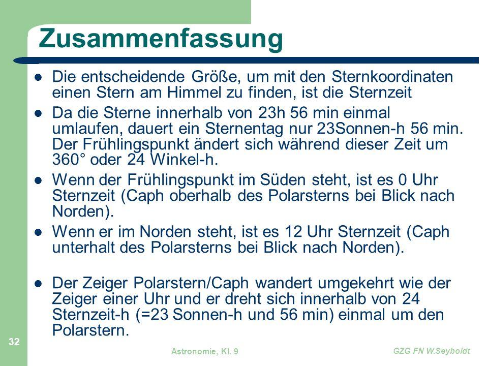 Astronomie, Kl. 9 GZG FN W.Seyboldt 32 Zusammenfassung Die entscheidende Größe, um mit den Sternkoordinaten einen Stern am Himmel zu finden, ist die S