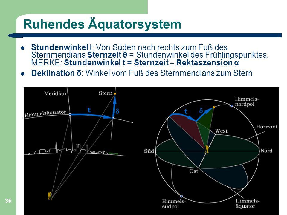 Astronomie, Kl. 9 GZG FN W.Seyboldt 36 Ruhendes Äquatorsystem Stundenwinkel t: Von Süden nach rechts zum Fuß des Sternmeridians Sternzeit θ = Stundenw