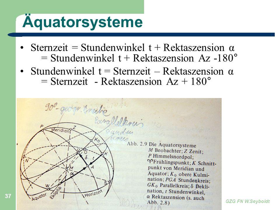 Astronomie, Kl. 9 GZG FN W.Seyboldt 37 Äquatorsysteme Sternzeit = Stundenwinkel t + Rektaszension α = Stundenwinkel t + Rektaszension Az -180° Stunden