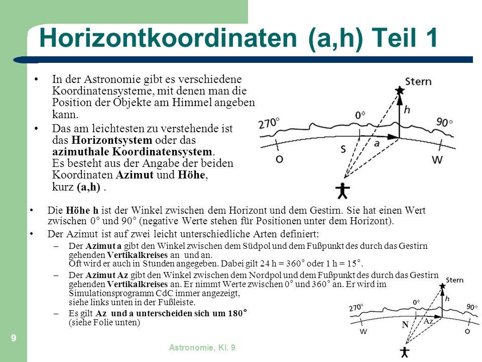 Astronomie, Kl. 9 GZG FN W.Seyboldt 9 Horizontkoordinaten (a,h) Teil 1 In der Astronomie gibt es verschiedene Koordinatensysteme, mit denen man die Po