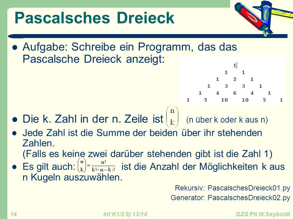 Inf K1/2 Sj 13/14 GZG FN W.Seyboldt 14 Pascalsches Dreieck Aufgabe: Schreibe ein Programm, das das Pascalsche Dreieck anzeigt: Die k. Zahl in der n. Z