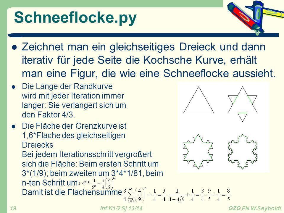 Inf K1/2 Sj 13/14 GZG FN W.Seyboldt 19 Schneeflocke.py Zeichnet man ein gleichseitiges Dreieck und dann iterativ für jede Seite die Kochsche Kurve, er