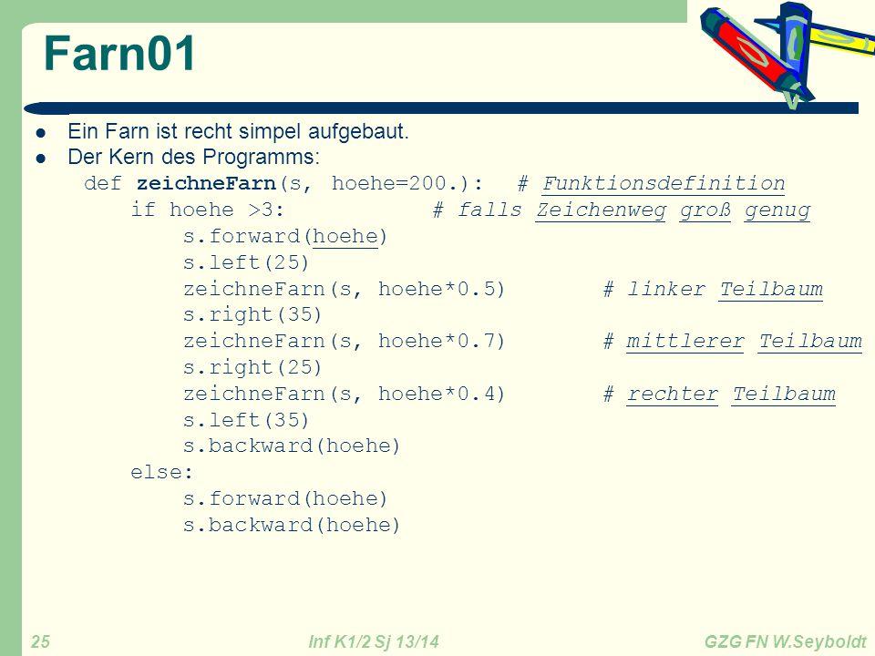 Inf K1/2 Sj 13/14 GZG FN W.Seyboldt 25 Farn01 Ein Farn ist recht simpel aufgebaut. Der Kern des Programms: def zeichneFarn(s, hoehe=200.): # Funktions