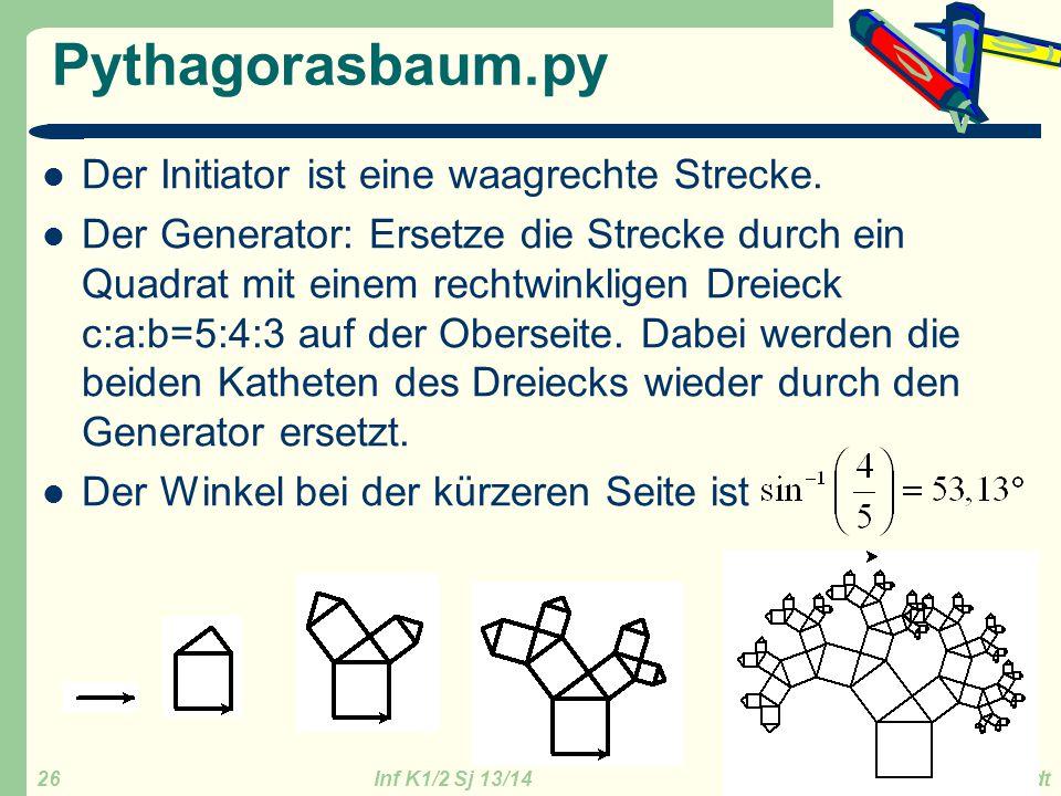 Inf K1/2 Sj 13/14 GZG FN W.Seyboldt 26 Pythagorasbaum.py Der Initiator ist eine waagrechte Strecke. Der Generator: Ersetze die Strecke durch ein Quadr