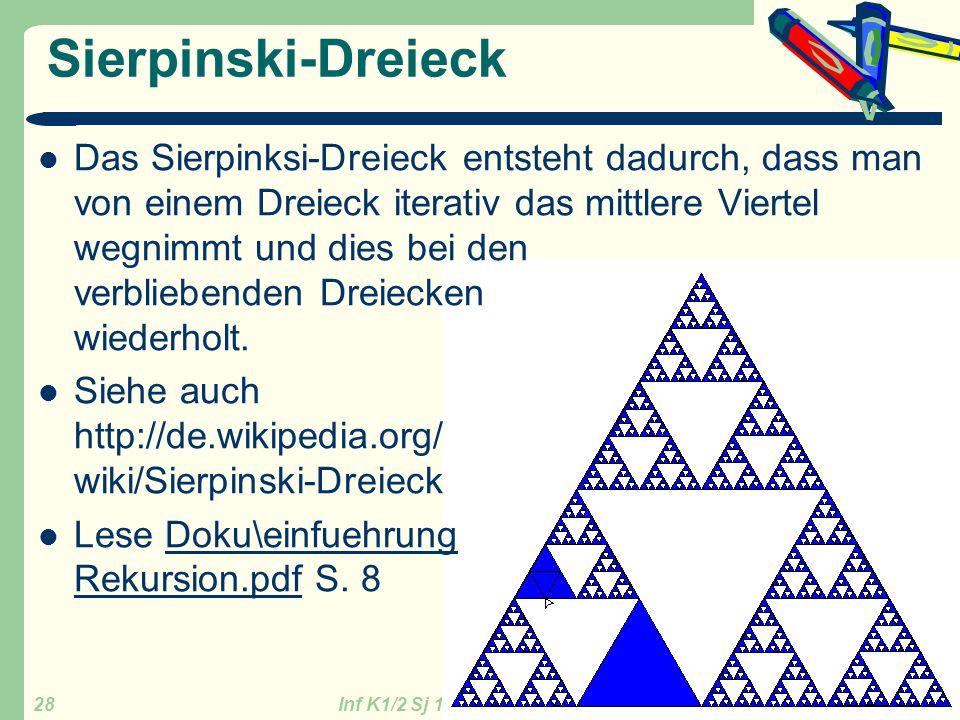 Inf K1/2 Sj 13/14 GZG FN W.Seyboldt 28 Sierpinski-Dreieck Das Sierpinksi-Dreieck entsteht dadurch, dass man von einem Dreieck iterativ das mittlere Vi