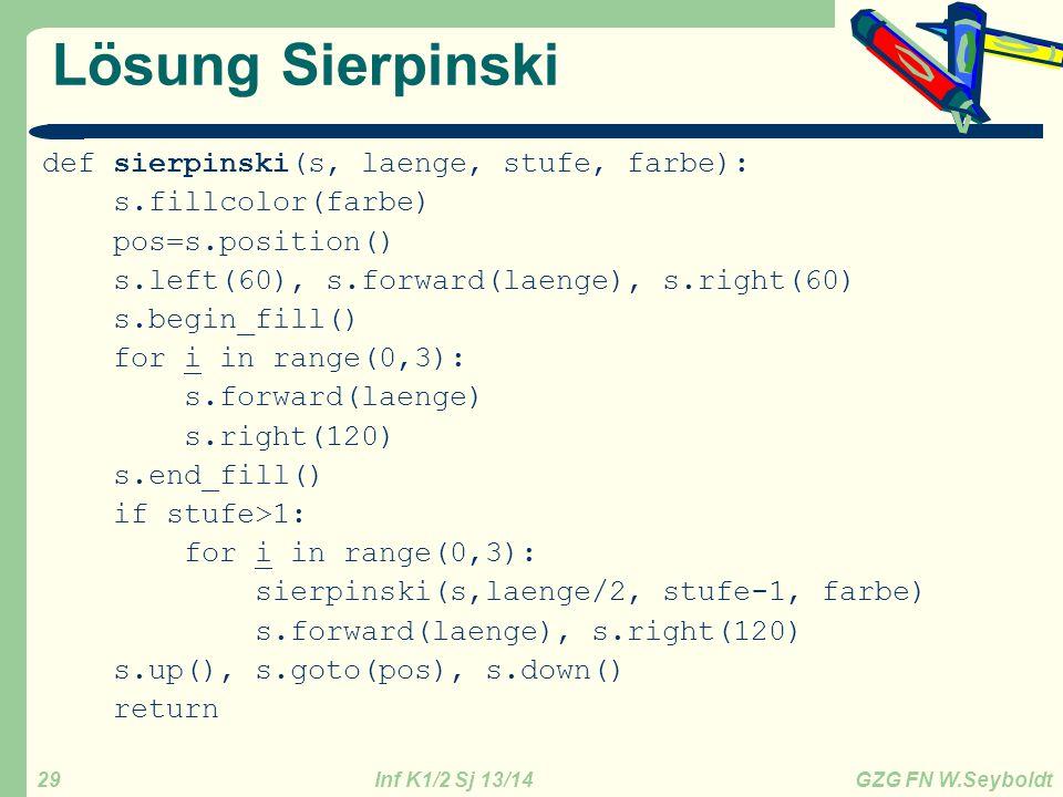 Inf K1/2 Sj 13/14 GZG FN W.Seyboldt 29 Lösung Sierpinski def sierpinski(s, laenge, stufe, farbe): s.fillcolor(farbe) pos=s.position() s.left(60), s.fo