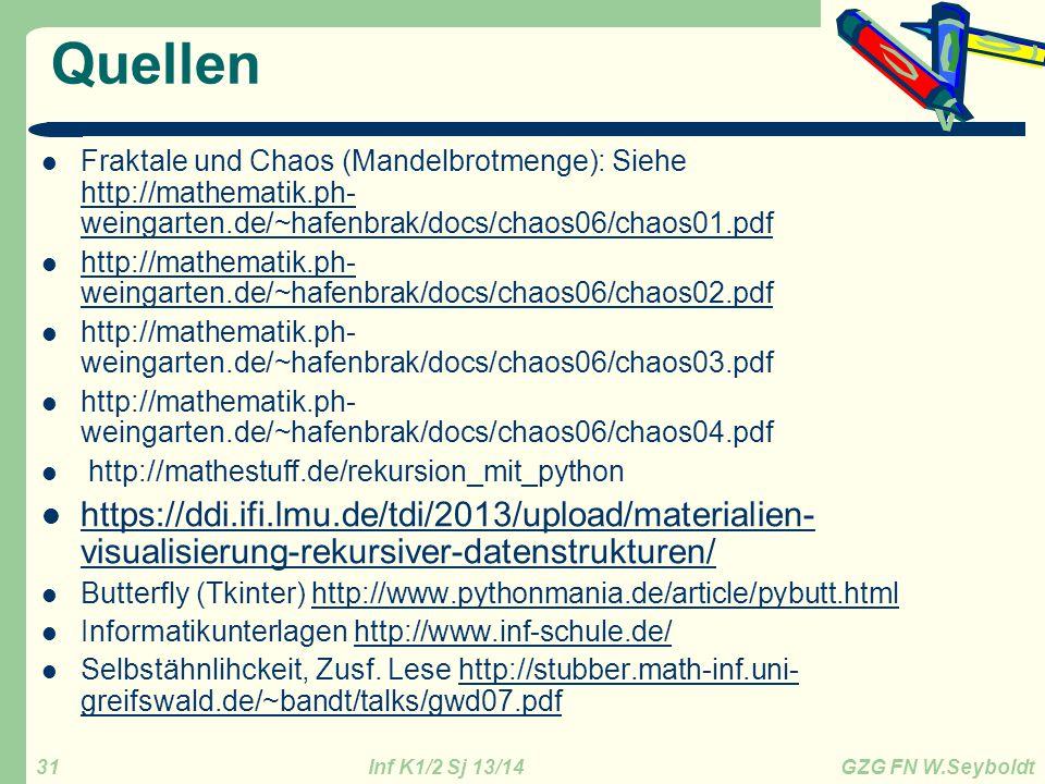 Inf K1/2 Sj 13/14 GZG FN W.Seyboldt 31 Quellen Fraktale und Chaos (Mandelbrotmenge): Siehe http://mathematik.ph- weingarten.de/~hafenbrak/docs/chaos06