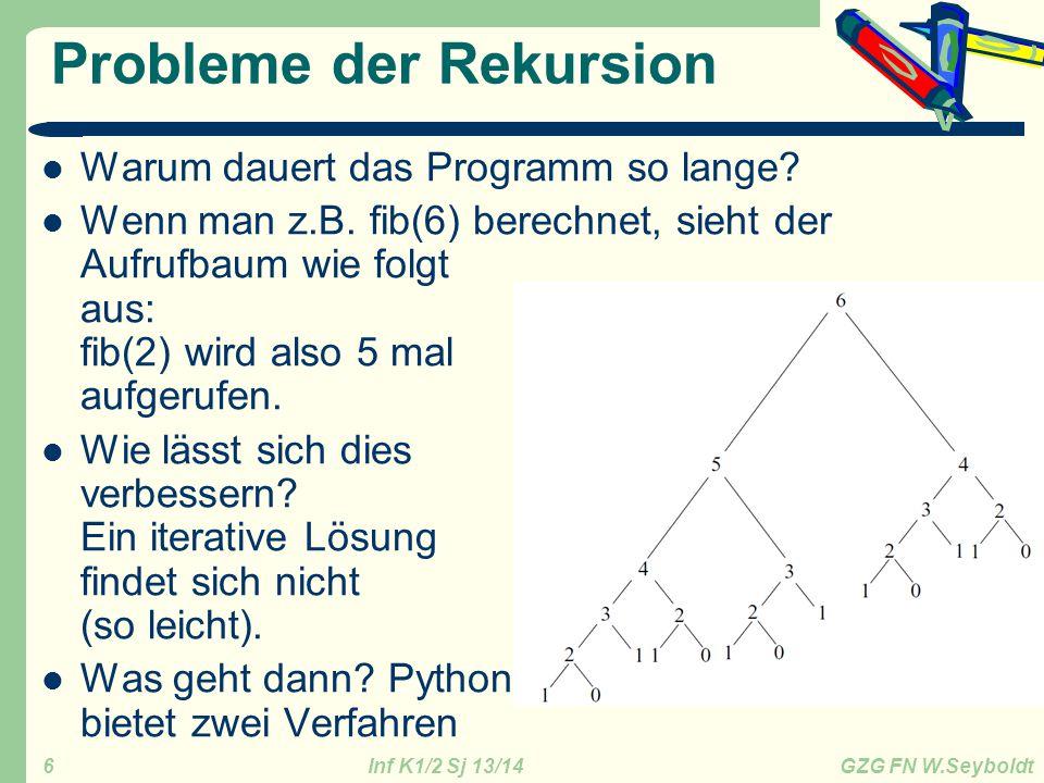 Inf K1/2 Sj 13/14 GZG FN W.Seyboldt 6 Probleme der Rekursion Warum dauert das Programm so lange? Wenn man z.B. fib(6) berechnet, sieht der Aufrufbaum
