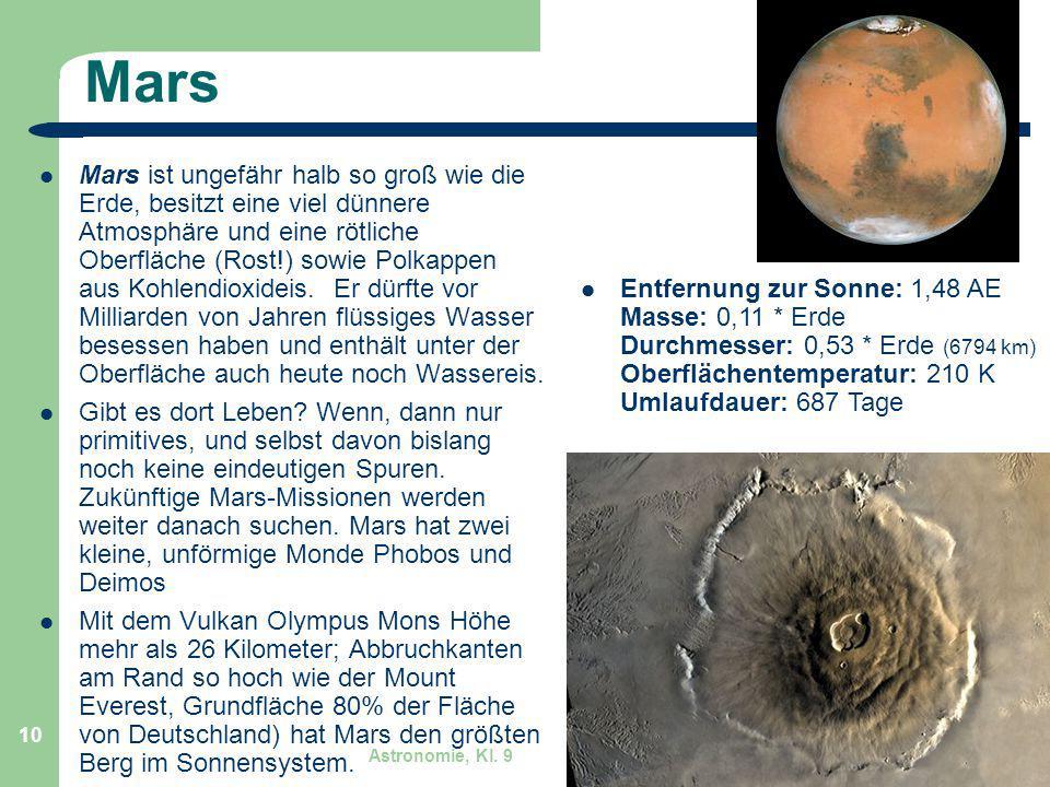 Astronomie, Kl. 9 GZG FN W.Seyboldt 10 Mars Mars ist ungefähr halb so groß wie die Erde, besitzt eine viel dünnere Atmosphäre und eine rötliche Oberfl