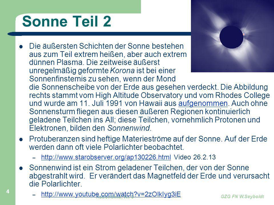 Astronomie, Kl. 9 GZG FN W.Seyboldt 4 Sonne Teil 2 Die äußersten Schichten der Sonne bestehen aus zum Teil extrem heißen, aber auch extrem dünnen Plas