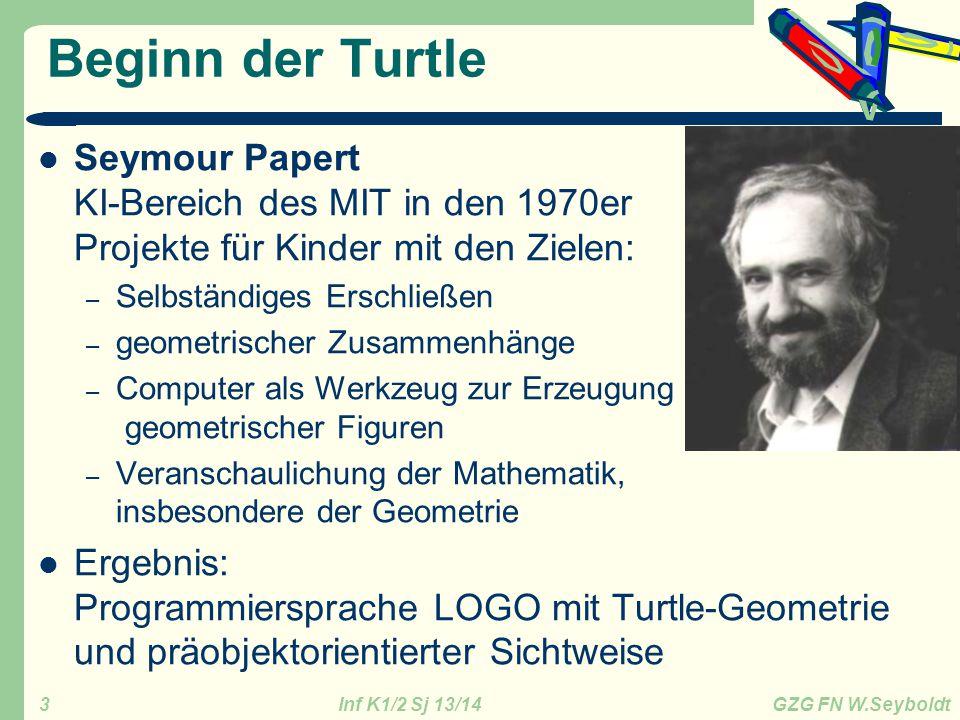 Inf K1/2 Sj 13/14 GZG FN W.Seyboldt 4 Turtle-Befehle import turtle as t # import der nötigen Module hugo = t.Turtle(shape= turtle ) # eine Schildkröte erstellen (Klasse) hugo.fillcolor( red ) # Farbe der Schildkröte ändern hugo.forward(x) # x Pixel vorwärts hugo.left(grad) # Biege grad° nach links ab hugo.right(y) hugo.goto(x,y) # gehe zur Position (x,y) – Im Zentrum ist (0/0), Pixel hugo.circle(r) # zeichne einen Kreis mit Radius r (Pixel) hugo.circle(r,y) # zeichne einen Kreisbogen mit Radius r und Winkel y hugo.up() # hebe den Stift hugo.down() # senke den Stift – wenn sich Hugo bewegt wird gezeichnet hugo.pencolor(f) # Stelle die Farbe f ein, z.B.