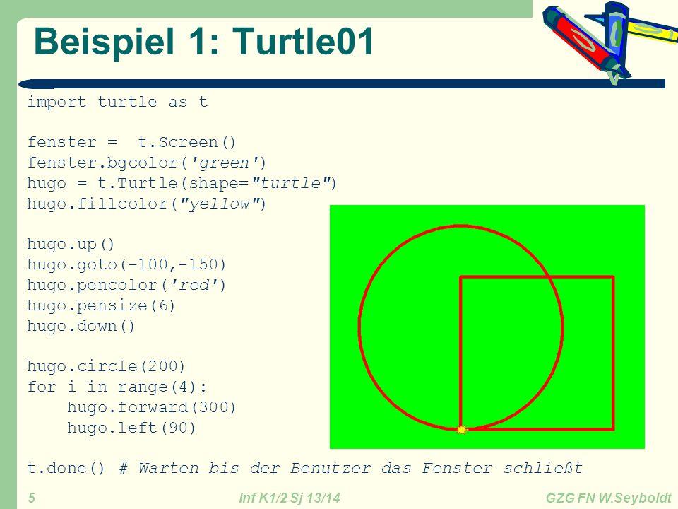 Inf K1/2 Sj 13/14 GZG FN W.Seyboldt 6 Wdh Grundlagen Python Variable sind Speicherplätze oder Notizzettel: int() // float() // str() Das Gleichheitszeichen ist ein Zuweisungsoperator Anzeige: print var1 print Es ist %0.2f, durch %i = %1.4f %(cf,d,q) Einfabe: eingabestr = raw_input( Info: ) Bedingung – bedingte Ausführung eines Codes if x<y: print ( Bedingung x<y erfüllt ) elif x==y: # == ist das mathematische Gleichheitszeichen print ( Bedingung x=0y erfüllt ) else: print ( Bedingungen x<y und y==x falsch ) Schleife – wiederholte Ausführung eine Codes, leicht geändert.