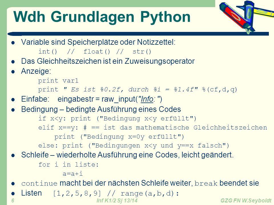 Inf K1/2 Sj 13/14 GZG FN W.Seyboldt 6 Wdh Grundlagen Python Variable sind Speicherplätze oder Notizzettel: int() // float() // str() Das Gleichheitsze
