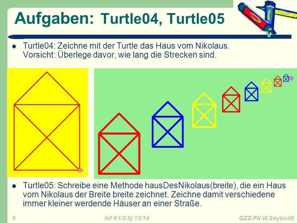 Inf K1/2 Sj 13/14 GZG FN W.Seyboldt 10 Aufgabe: Turtle06 Turtle06: Zeichne mit der Turtle den abgebildeten Kuchen.