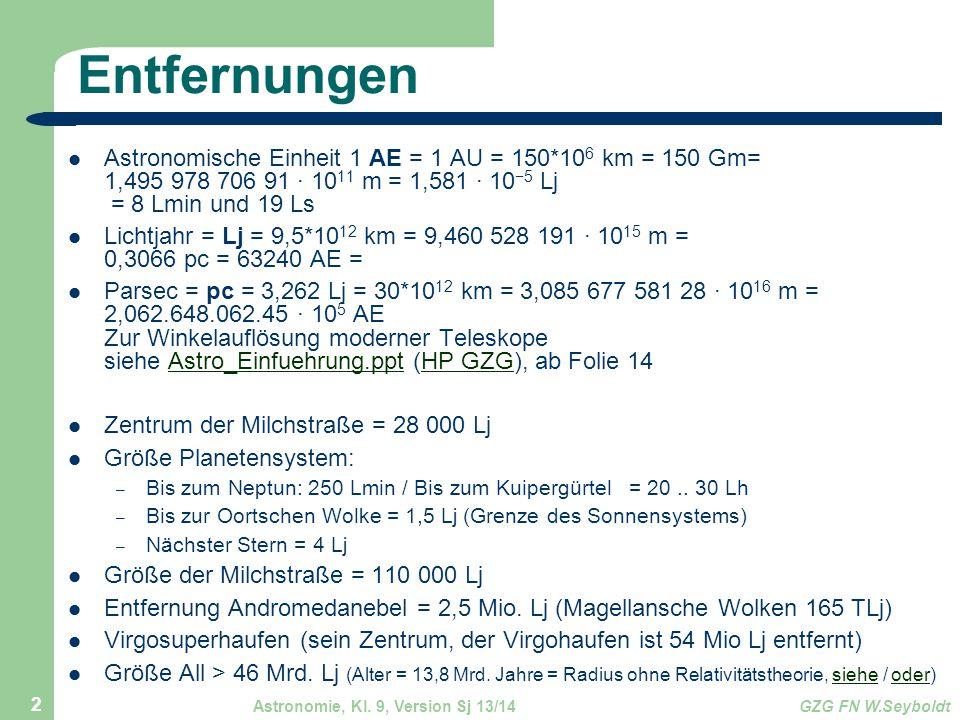 Astronomie, Kl. 9, Version Sj 13/14GZG FN W.Seyboldt 2 Entfernungen Astronomische Einheit 1 AE = 1 AU = 150*10 6 km = 150 Gm= 1,495 978 706 91 · 10 11