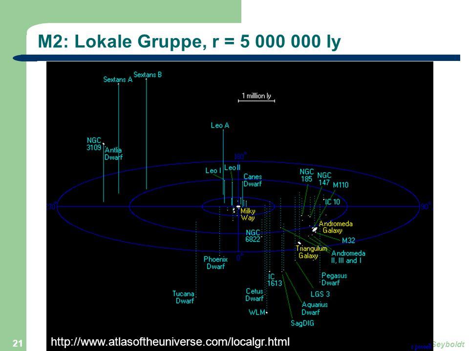 Astronomie, Kl. 9, Version Sj 13/14GZG FN W.Seyboldt 21 M2: Lokale Gruppe, r = 5 000 000 ly http://www.atlasoftheuniverse.com/localgr.html