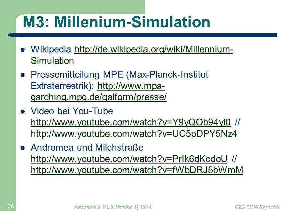 Astronomie, Kl. 9, Version Sj 13/14GZG FN W.Seyboldt 26 M3: Millenium-Simulation Wikipedia http://de.wikipedia.org/wiki/Millennium- Simulationhttp://d
