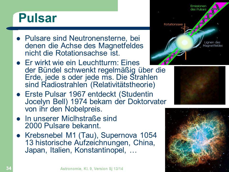 Astronomie, Kl. 9, Version Sj 13/14GZG FN W.Seyboldt 34 Pulsar Pulsare sind Neutronensterne, bei denen die Achse des Magnetfeldes nicht die Rotationsa