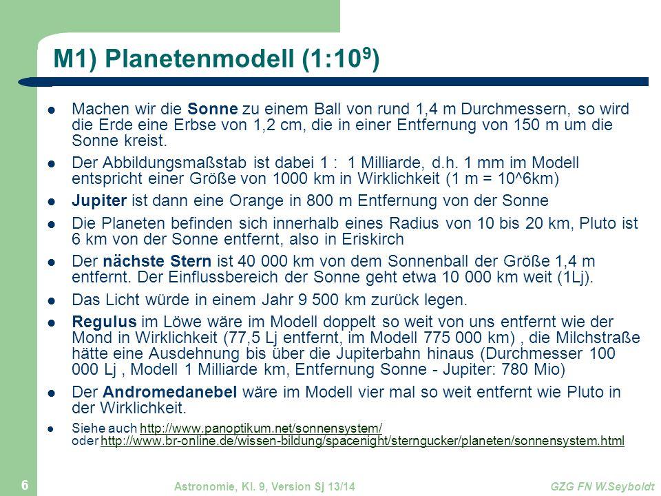 Astronomie, Kl. 9, Version Sj 13/14GZG FN W.Seyboldt 6 M1) Planetenmodell (1:10 9 ) Machen wir die Sonne zu einem Ball von rund 1,4 m Durchmessern, so