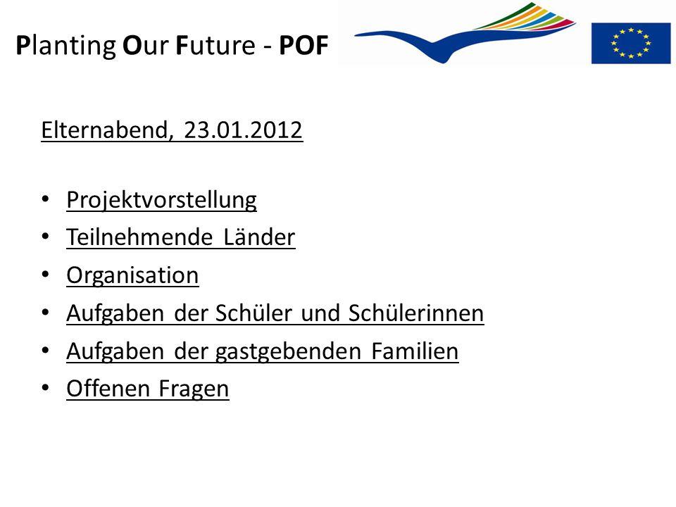 Planting Our Future - POF Elternabend, 23.01.2012 Projektvorstellung Teilnehmende Länder Organisation Aufgaben der Schüler und Schülerinnen Aufgaben d