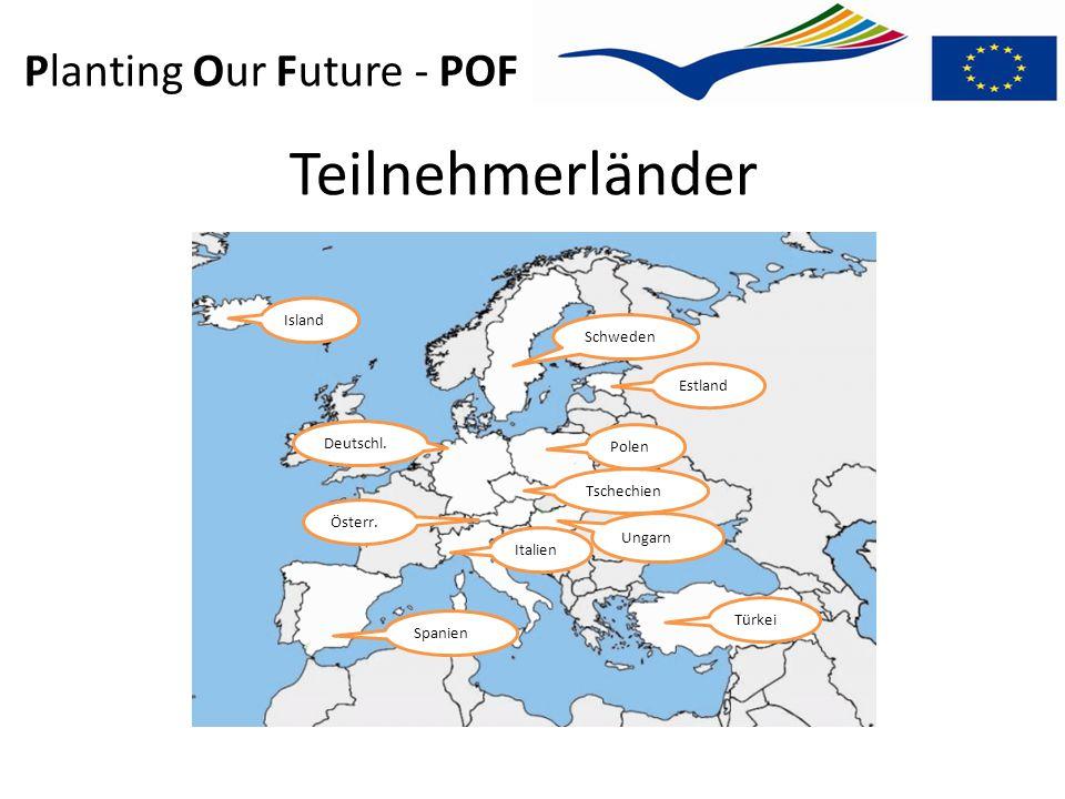 Planting Our Future - POF Teilnehmerländer Island Schweden Polen Estland Deutschl. Tschechien Spanien Italien Ungarn Österr. Türkei